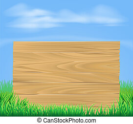 drewniany, pole, znak