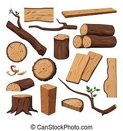 drewniany, rąbany, kloc, pień, budulec