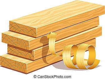 drewniany, rasped, deski, sawdusts, opiłki