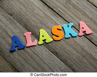 drewniany, słowo, alaska, tło