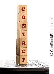 drewniany, słowo, kontakt, kloce, komputer