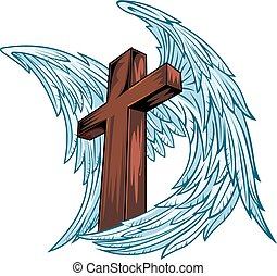 drewniany, skrzydełka, anioł, krzyż