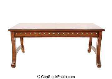 drewniany stół, kawa