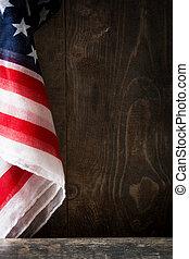 drewniany, stany, bandera, zjednoczony, tło