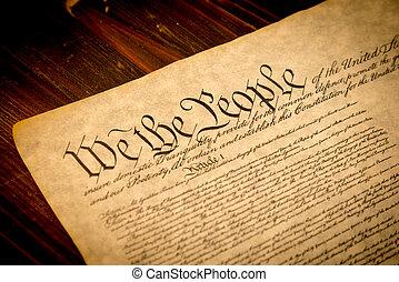 drewniany, stany, zjednoczony, konstytucja, biurko