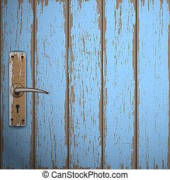 drewniany, stary, drzwi