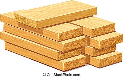drewniany, stos, deski, budulec