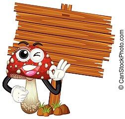 drewniany, szablon, grzyb, znak