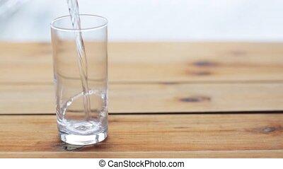 drewniany, szkło, woda stół, zsyp