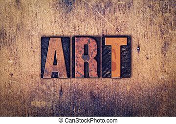 drewniany, sztuka, pojęcie, typ, letterpress