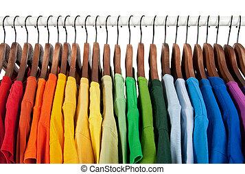 drewniany, tęcza, ubranie wieszaki, kolor