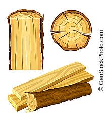 drewniany, tworzywo, drewno, deska