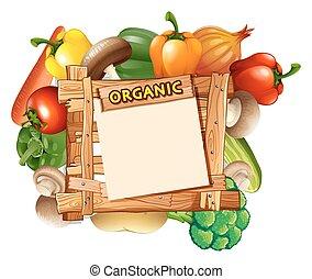 drewniany, warzywa, dookoła, znak