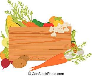 drewniany, warzywa, znak