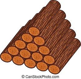 drewniany, wektor, kloce, ilustracja, stóg
