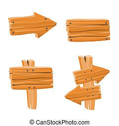 drewniany, wektor, znaki