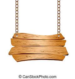drewniany, więzy, zawieszony, znak