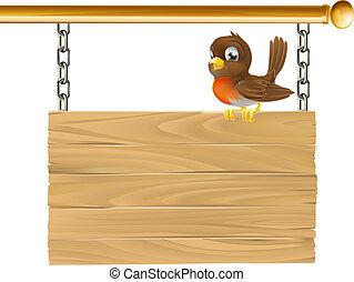 drewniany, wisząc, ptak, znak
