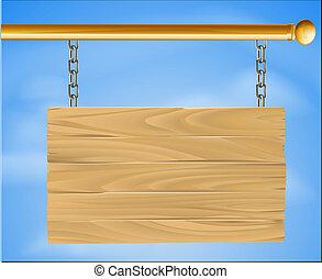drewniany, wisząc znak