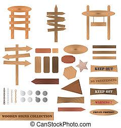 drewniany, zbiór, znaki