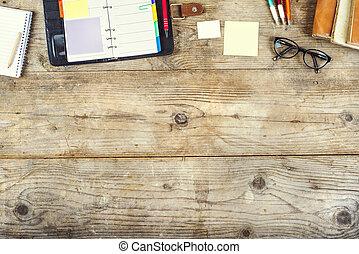drewniany, zmieszać, stół., biuro, desktop