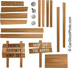 drewniany, znaki