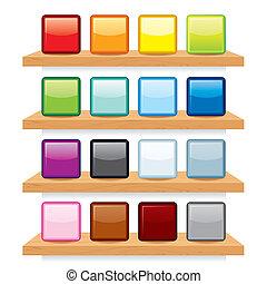 drewno, display., półka, wektor, projektować, szablon, ikona