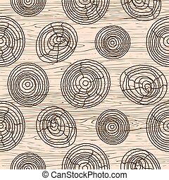 drewno, drewniany, pattern., seamless, struktura, tło., wektor, ziarno