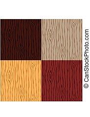 drewno, drewniany, set., pattern., seamless, struktura, tło., wektor, ziarno, ilustracja, abstrakcyjny