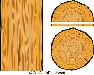 drewno, elementy, struktura, budulec
