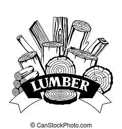 drewno, leśnictwo, pnie, projektować, kloce, tło, planks., przemysł, graty