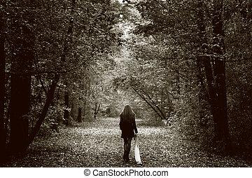drewno, samotny, kobieta, droga, smutny