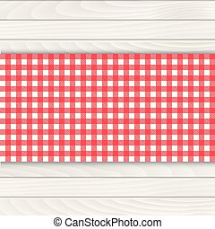 drewno, vector., tablecloth, stół., biały czerwony