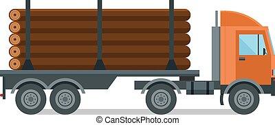 drewno, wektor, odizolowany, budulec, wózek, ilustracja