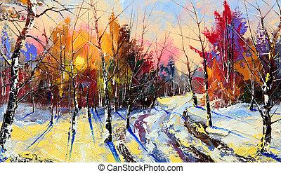 drewno, zachód słońca, zima