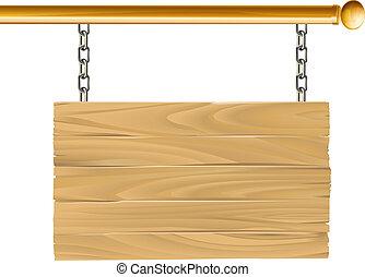 drewno, zawieszony, ilustracja, znak