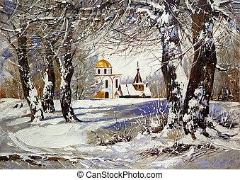 drewno, zima krajobraz, kościół