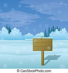 drewno, zima krajobraz, znak