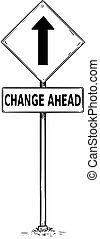 droga, na przodzie, tekst, jeden, handel, strzała znaczą, rysunek, zmiana