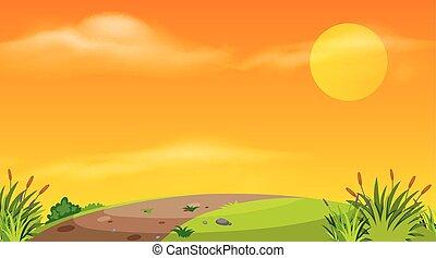 droga, opróżniać, zachód słońca, tło, projektować, krajobraz