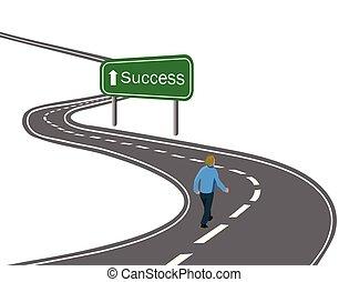 droga, pieszy, pojęcie, zwycięstwo, powodzenie, asfalt, strzała znaczą, podróż, zielony, cele, droga, łukowaty, biały, dokonując, szosa, człowiek