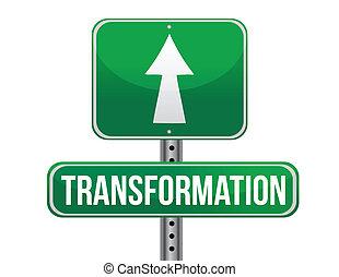 droga, projektować, transformacja, ilustracja, znak