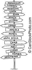 droga, stary, kraje, kierunkowy, afryka, znak, nazwiska, strzała, główny, rysunek, południe