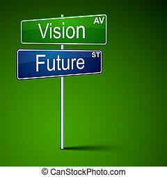 droga, widzenie, poznaczcie., kierunek, przyszłość
