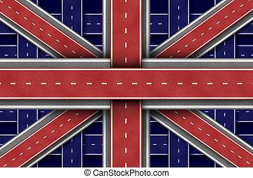droga, wielki, bandera, britain