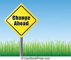 droga, zmiana, na przodzie, znak
