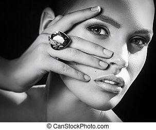 drogocenny, kobieta, fason, biżuteria, decorations.