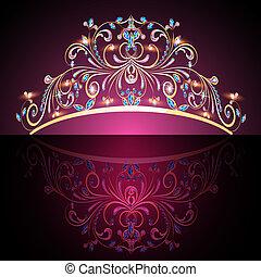 drogocenny, złoty, tiara, womens, kamienie, korona