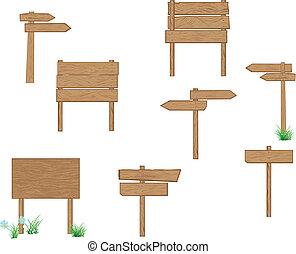 drogowskazy, drewniany, brązowy