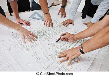 drużyna, architekci, umiejscawiać, zbudowanie